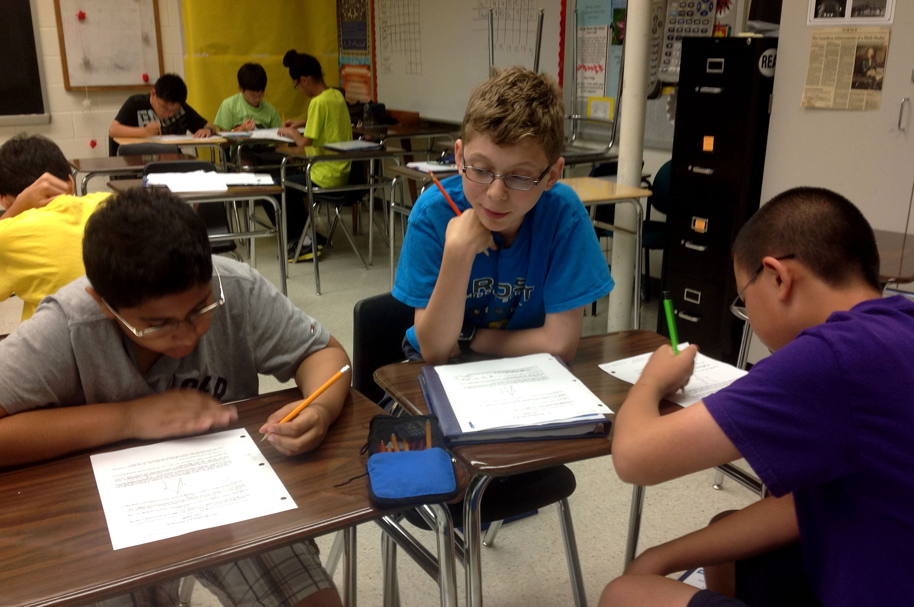 students solving right triangle problem